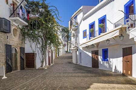 The beautiful white houses of Ibiza Town