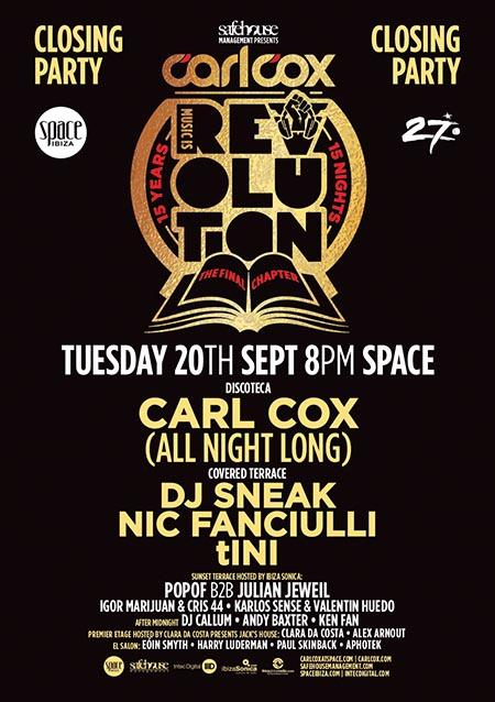 carl cox space ibiza closing party Flyer