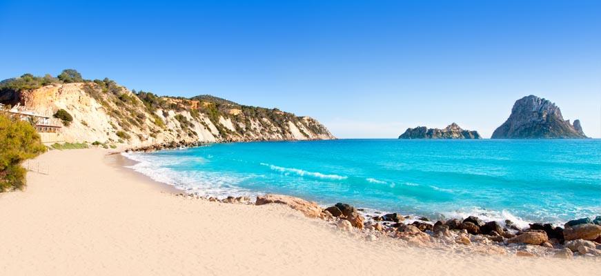 Cala d'Hort beach overlooking Es Vedra in Ibiza