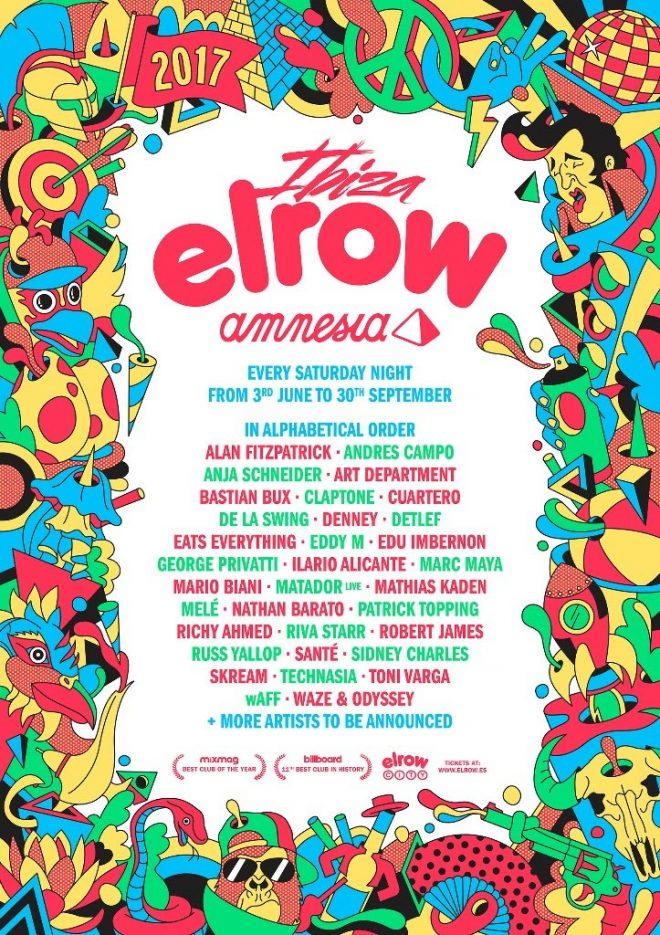 Elrow Ibiza 2017 full Line up