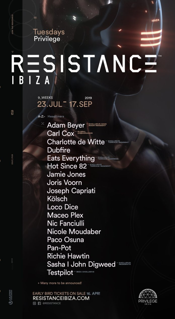 Resistance dj line up at Privilege Ibiza