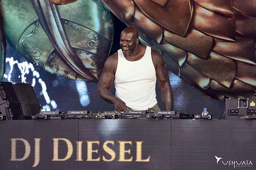 Shaquille O'Neal on the Tomorrowland stage at Ushuaïa Ibiza